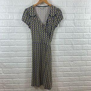 Boden Summer Wrap Dress Yellow Navy 4